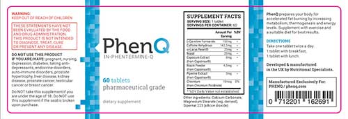 PhenQ label ingredients